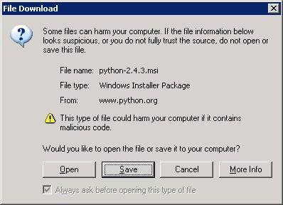 Installing Python on Windows Server 2003